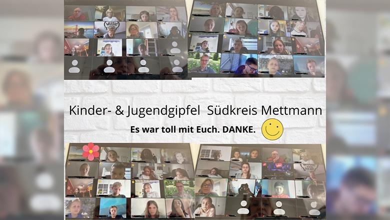 Eine Collage aus Screenschots der Videokonferenz zum Kinder- & Jugendgipfel Südkreis Mettmann. Viele Kinder und einige Abgeordnete sind zu sehen. Text: Es war toll mit Euch. DANKE.