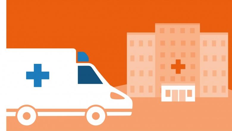 Illustration in grafischen Stil (Orangetöne): Krankenwagen und Krankenhaus