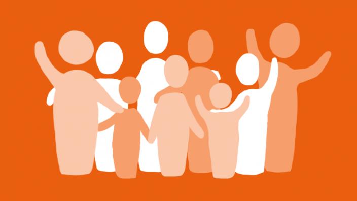 Illustration: Menschengruppe, Gemeinschaft